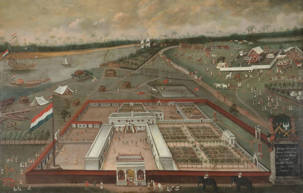 The trading post of the Dutch East India Company in Hooghly, Bengal. Painting by Hendrik van Schuylenburgh, 1665. Rijksmuseum Amsterdam, license CC0